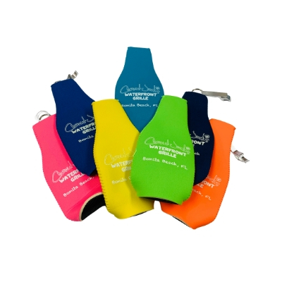 Coconut Jack's Beer Koozies all grouped together in pink, yellow ,green, teal, blue, orange
