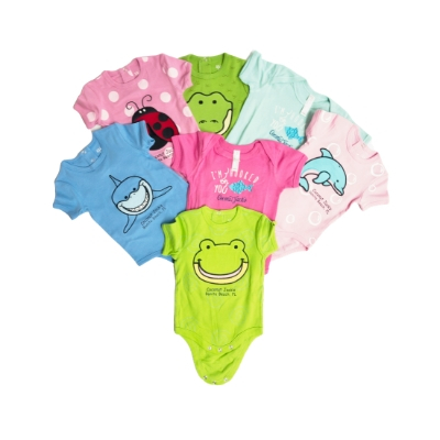 Coconut Jack's Baby Bodysuits all colors and animal print options