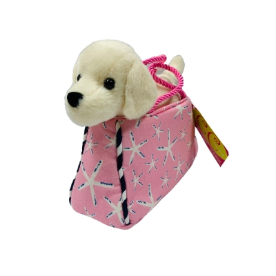 toy dog purse with white dog inside starfish purse