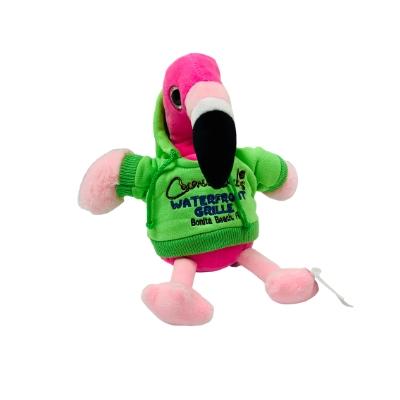 Pink Flamingo wearing green hoodie