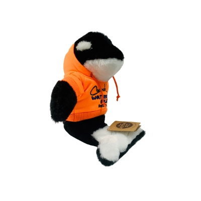 killer whale stuffed animal wearing orange hoodie