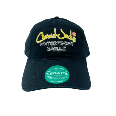 coconut jack's black hat with logo